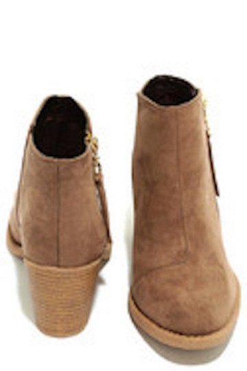 Lulu*s Vegan Suede Heeled Taupe Boots Image 2