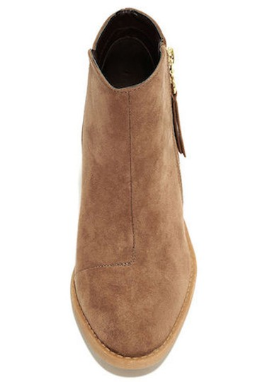 Lulu*s Vegan Suede Heeled Taupe Boots Image 3
