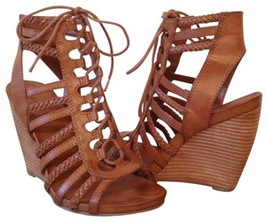 Bakers Gladiator Leather Tan Wedges