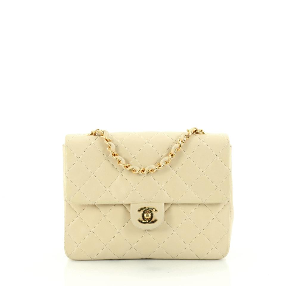 0488efdec57f4e Chanel Classic Flap Vintage Cc Chain Quilted Small Ivory Lambskin ...