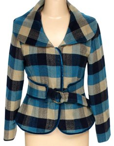 Young Essence Belted Blazer Belted Coat Plaid blue, beige, Jacket