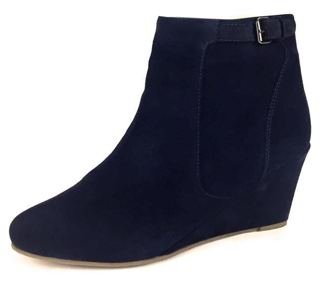Item - Blue Suede Silver Strap Buckle Wedge Round Toe Ankle Heel Boots/Booties Size EU 42 (Approx. US 12) Regular (M, B)