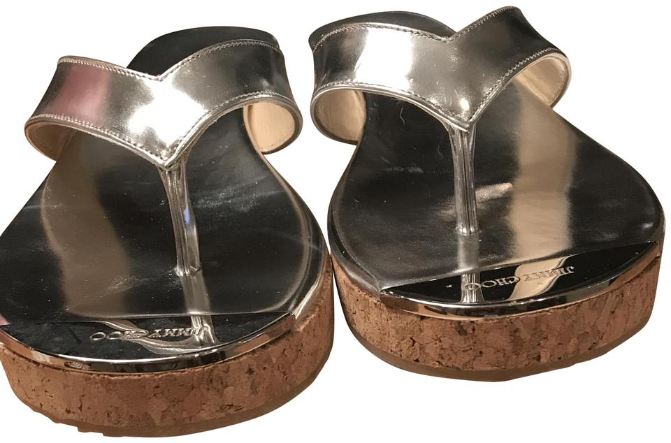a727c3a03ef Jimmy Choo Silver Box Thong with Price Tag/Dustbag Sandals. Size: EU ...