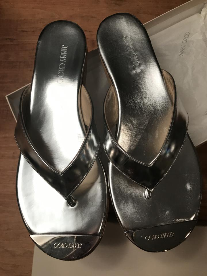 d95dc69e3e3 Jimmy Choo Silver Box Thong with Price Tag/Dustbag Sandals Size EU ...