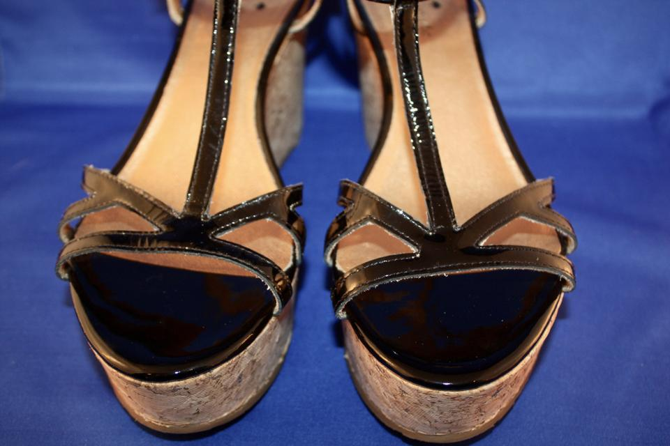 47a4849faa9c Kate Spade Patent Leather Gold Wedge Cork Ankle Strap black Sandals Image  6. 1234567