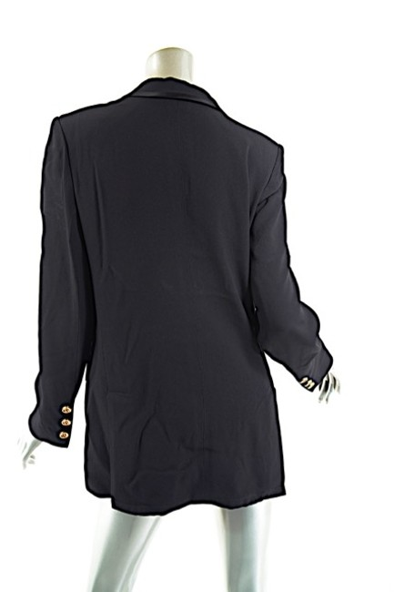 Sonia Rykiel SONIA RYKIEL Black Acetate Blend Pantsuit w/Satin Trims - 40-42/US 8-10