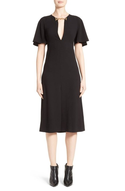 Burberry London Black W Lindsay Flutter-sleeve W/ Chain Mid-length Cocktail Dress Size 8 (M) Burberry London Black W Lindsay Flutter-sleeve W/ Chain Mid-length Cocktail Dress Size 8 (M) Image 1