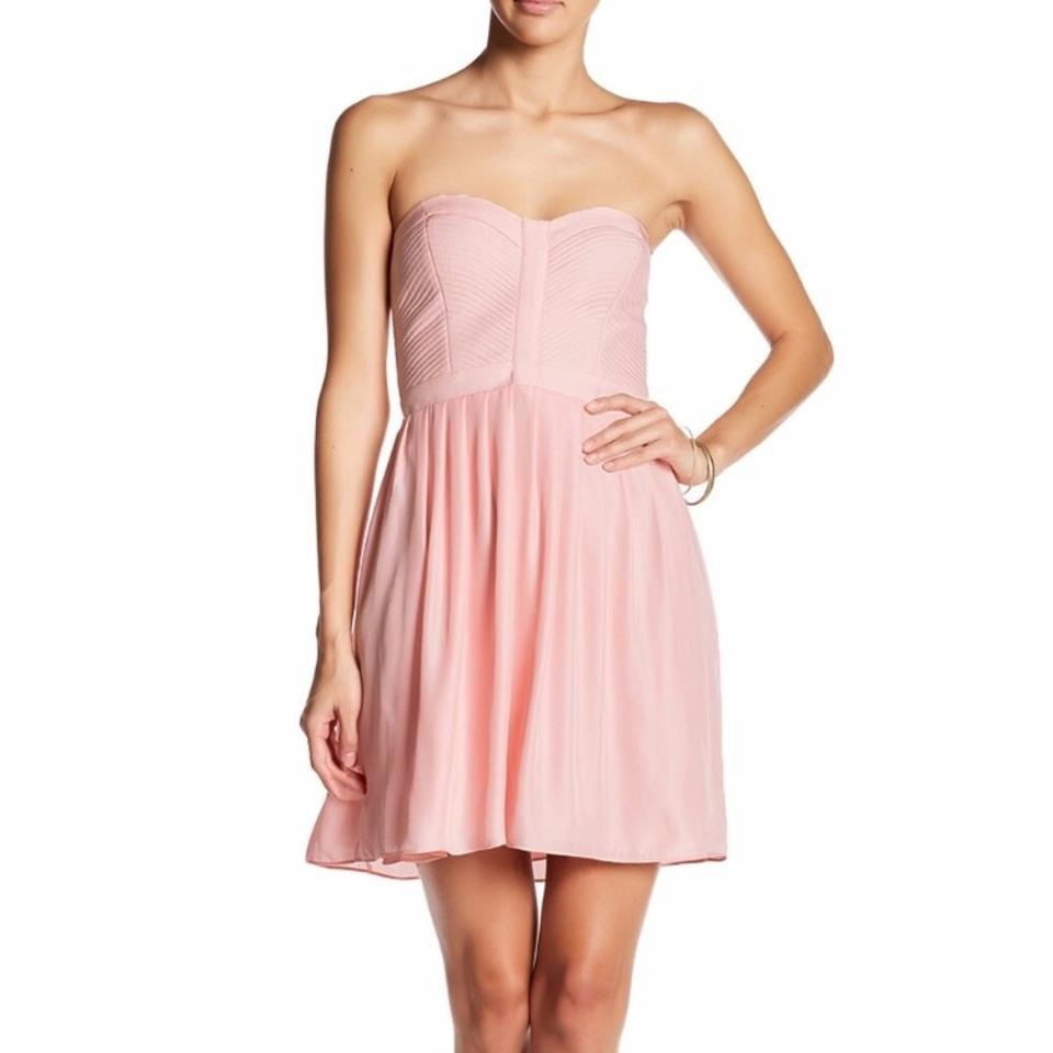 Parker Blush Pink Strapless Bustier Short Cocktail Dress Size 12 (L ...