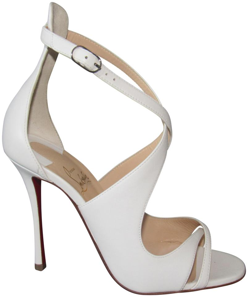 Christian Louboutin Leather White New Malefissima 100 Leather Louboutin Latte Pumps Sandals 058685