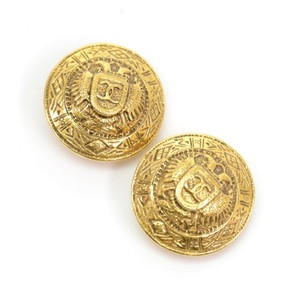 Chanel Chanel Gold Tone CC Logo Round Earrings CE462