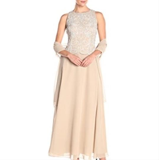Lord taylor beige gorgeous beaded a line gown and scarf for Lord and taylor dresses for weddings