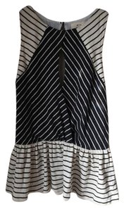 Pins and Needles Stripes Peplum Keyhole Top Off-white and Black