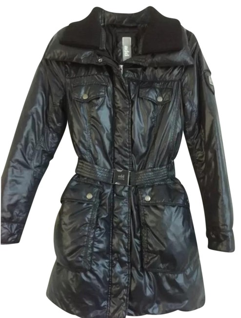 Item - Blue Nylon Light Weight Belted Puffer Coat Size 2 (XS)