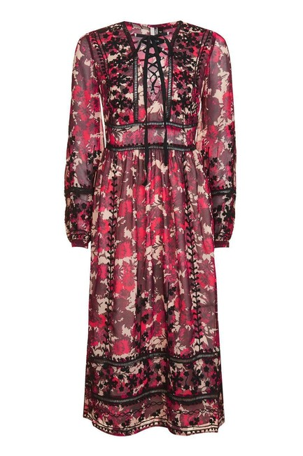 Item - Burgundy Midnight Floral Embroidered Long Casual Maxi Dress Size 6 (S)