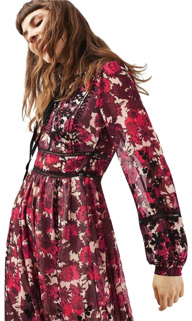 Item - Burgundy Midnight Floral Embroidered --size 6(Uk10) Long Casual Maxi Dress Size 6 (S)