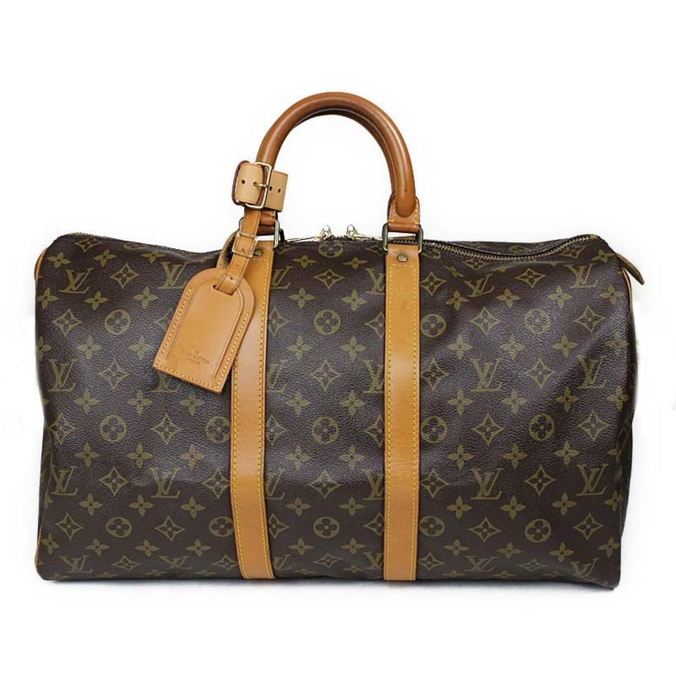 louis vuitton brown leather keepall weekend travel bag tradesy. Black Bedroom Furniture Sets. Home Design Ideas