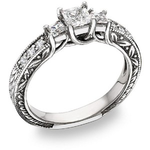 Apples of Gold Three Stone Princess-Cut Cubic Zirconia Ring, Sterling Silver