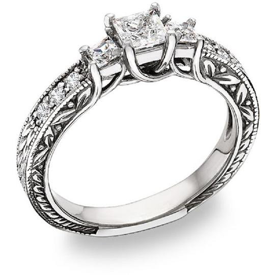 Apples of Gold Three Stone Princess-Cut Cubic Zirconia Ring, Sterling Silver Image 1