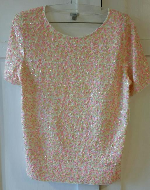 J.Crew Sequins Jersey Cotton Slim Fit T Shirt Multi Confetti Pinks Image 2