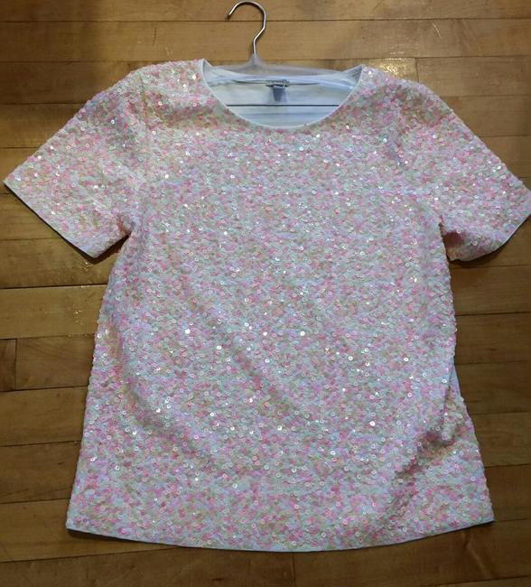 J.Crew Sequins Jersey Cotton Slim Fit T Shirt Multi Confetti Pinks Image 3