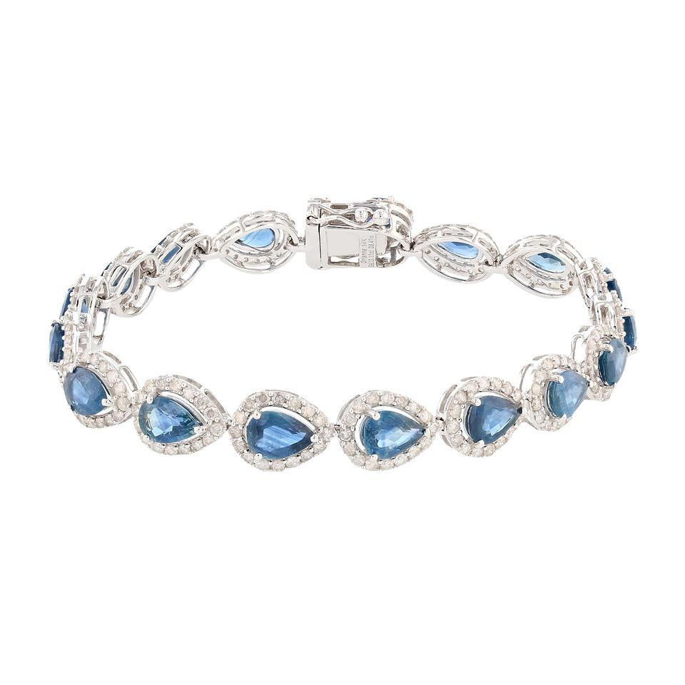 tw tennis bracelet itm ct in blue prong gold sapphire and diamond
