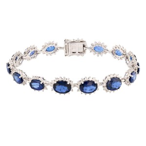 White Gold 16.23ctw Blue Sapphire and 2.04ctw Diamond 14k Bracelet