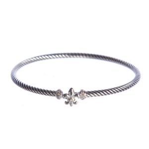 David Yurman Cable Collectibles Fleur-de-Lis Bracelet with Diamonds 3mm Sz M NWOT
