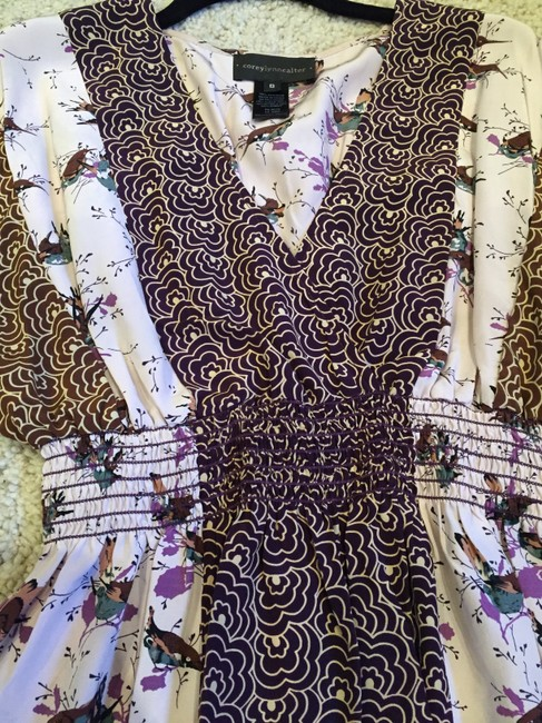 Corey Lynn Calter Print Silk Top Pink, purple and brown