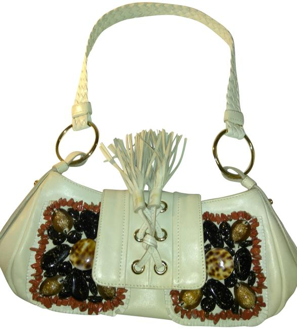 Item - With Embellishments Ivory Leather Stones Baguette