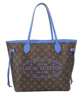 Louis Vuitton Neverfull Mm Neverfull Mm Ikat Neverfull Lv Ikat Tote in Brown Monogram Canvas & Blue Writing