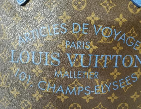 Louis Vuitton Neverfull Mm Neverfull Mm Ikat Neverfull Lv Ikat Tote in Brown Monogram Canvas & Blue Writing Image 10