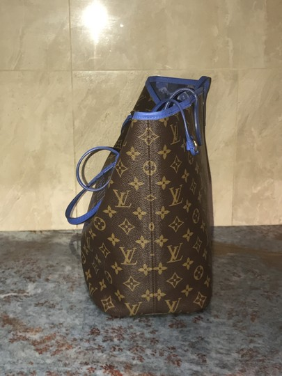 Louis Vuitton Neverfull Mm Neverfull Mm Ikat Neverfull Lv Ikat Tote in Brown Monogram Canvas & Blue Writing Image 4