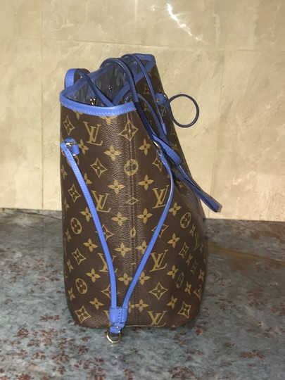 Louis Vuitton Neverfull Mm Neverfull Mm Ikat Neverfull Lv Ikat Tote in Brown Monogram Canvas & Blue Writing Image 6