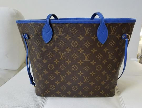 Louis Vuitton Neverfull Mm Neverfull Mm Ikat Neverfull Lv Ikat Tote in Brown Monogram Canvas & Blue Writing Image 7