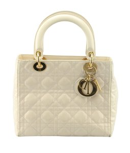 Dior Christian Patent Leather Satchel in Cream