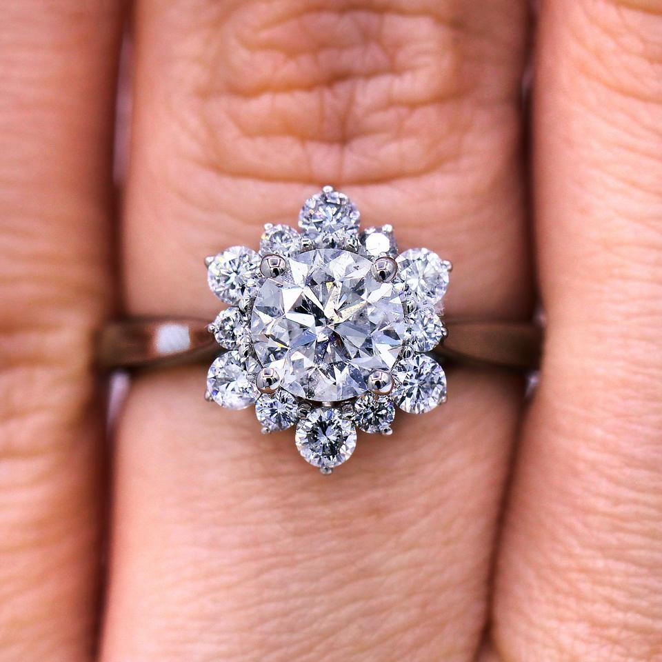 White Unique Flower Shaped Engagement Ring - Tradesy