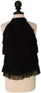 Willi Smith Ruffle Little Flattering Perfect Easy Care Top Black