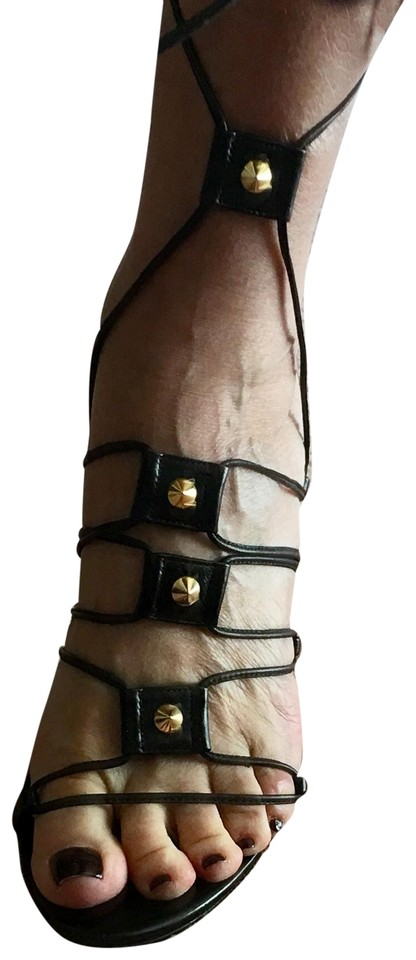 beee66f164c Dolce Gabbana Black Strappy with Gold Studs Detail Sandals. Size  EU 38 ...