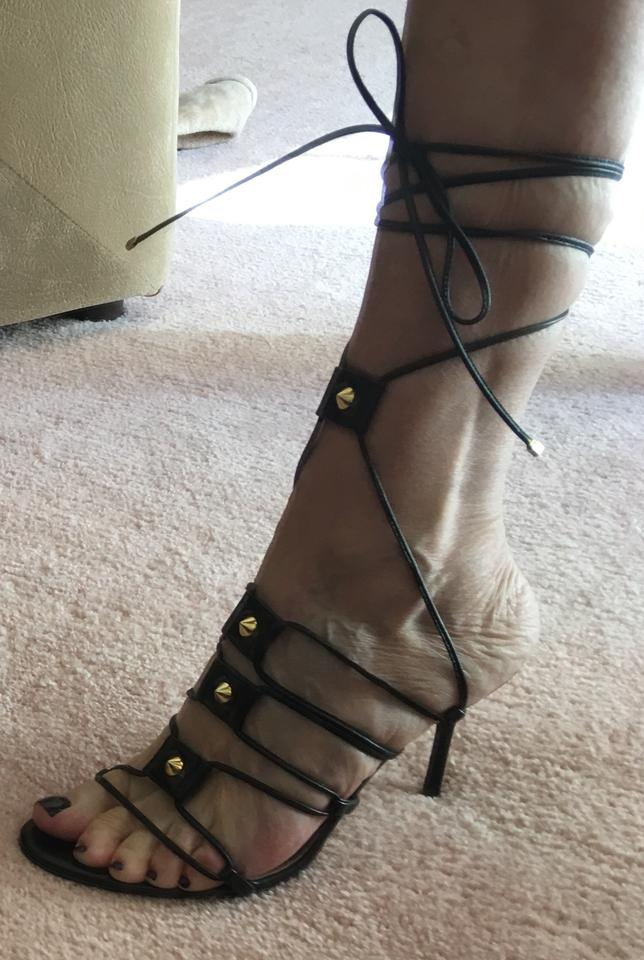 3fb3383bedf Dolce Gabbana Black Strappy with Gold Studs Detail Sandals Size EU 38  (Approx. US 8) Regular (M