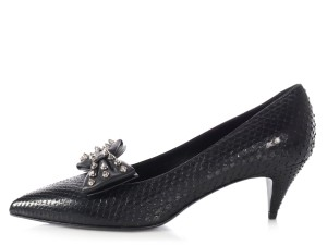 Saint Laurent Ys.l1004.18 Snake Bow-toe Kitten Heels Black Formal