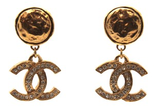 Chanel #15162 Large CC crystals dangle drop gold clip on earrings