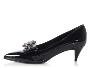 Saint Laurent Ys.l1004.19 Patent Bow-toe Kitten Heels Black Formal