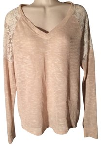 American Rag Lace Sheer Split-back High-low Sweater