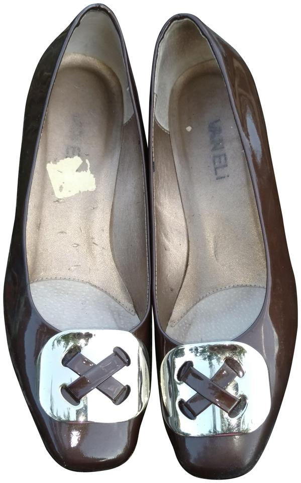 a058c38b094 Vaneli Brown Women s Patent Leather Heels with A Large Gold Buckle Pumps