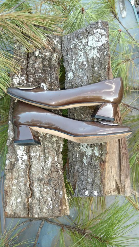 847848dd0cd Vaneli Brown Women s Patent Leather Heels with A Large Gold Buckle ...