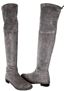 Stuart Weitzman Over The Knee Stretch Pull On Grey Suede Boots