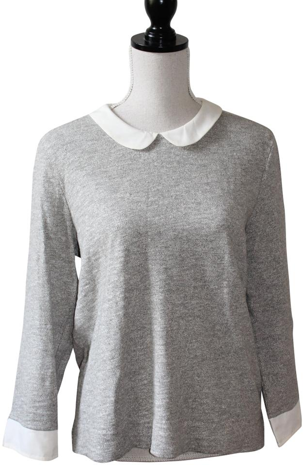 J.Crew Marbeled Grey with Peter Pan Collar Cotton Knit Blouse Size 8 ... 7e869e6b3