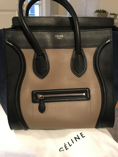 Preload https://img-static.tradesy.com/item/22409464/celine-luggage-tricolor-handbag-mini-black-taupe-leather-navy-blue-suede-and-tote-0-15-540-540.jpg