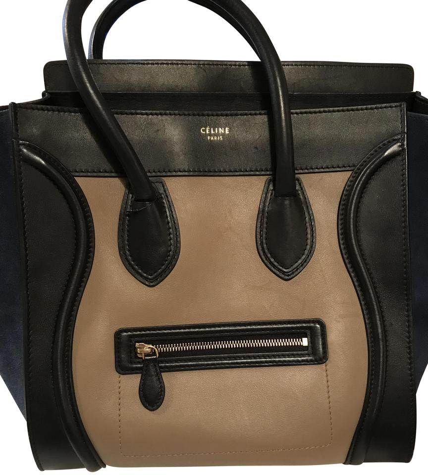 8a5a298b9467 Céline Luggage Tricolor Handbag Mini Black Taupe Leather Navy Blue ...