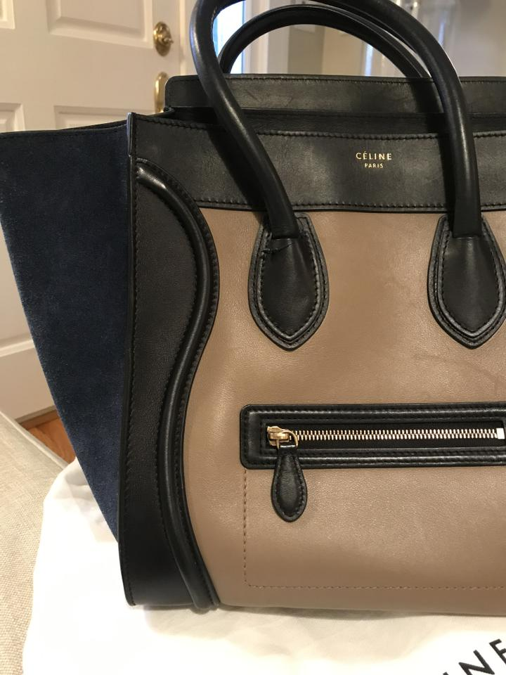 ec3e54633 Céline Luggage Tricolor Handbag Mini Black Taupe Leather Navy Blue Suede  and Tote